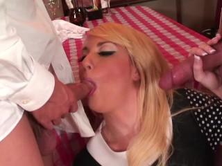 Hot blonde waitress fucked and got huge cumshot...