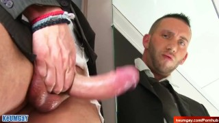 Don't touch my huge dick i'm not into guys !! Jerem in suit guy serviced