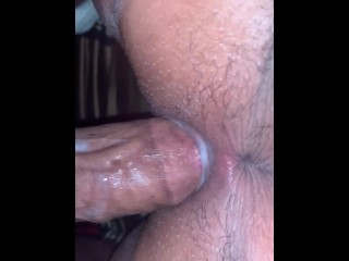 Dick hits pink fat doggystyle cums on ass...