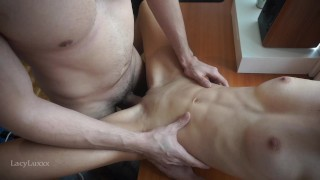 PERFECT PETITE FIT TEEN POUNDED HARD ON THE OFFICE DESK