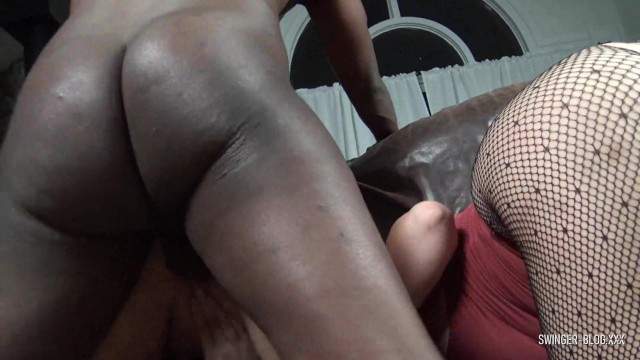 Busty blonde hotties sucking and fucking a massive black cock 19