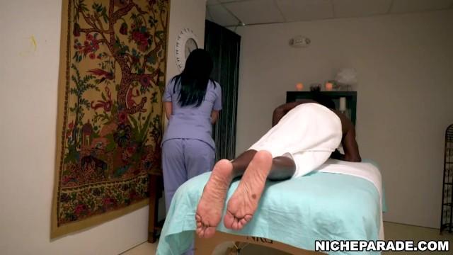 Guy massaging big tits Niche Parade Hung Black Guy Gets Happy Ending Massage From Big Tits Latin Porno Video Pornogo Tv