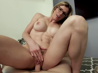 Cheating milf with big boobs gives swallows...
