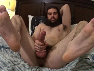 Hung straight hippy shows off feet ass moans...