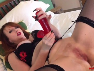 Insatiable Red XXX playing with multiple dildos