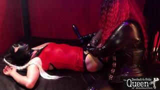 Queen Dominatrix Frida tortures her tranny slave in gloryhole