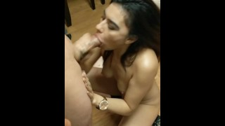 Helping my neighbor deepthroat her boyfriend's HUGE uncut cock! (2018)