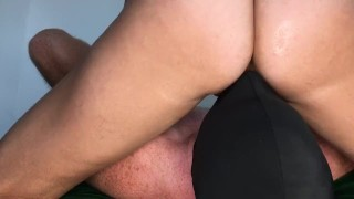 Amazon Femdom Creampies Slave, he cums fast in 25 seconds