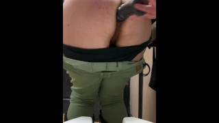 exposing loose asshole in a bar bathroom [cum slips out!]