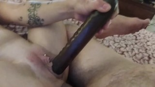 double ended dildo stuck all the way up and cumming out