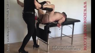 Miss M. impales slave p. with a 36 CM STRAPON.... BALLS DEEP!!