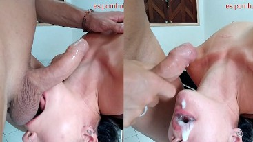 ORAL CREAMPIE, USED THROAT UNTIL CUM IN HER MOUTH, ALL HER FACE WHIT CUM