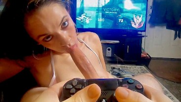 POV! Big butt nympho girlfriend rides big cock while he plays call of duty.