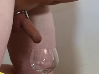 Chastity Release – Cow husband milked for a dissapointing amount of semen