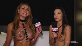 Screen Capture of Video Titled: Milana Ricci, Romi Rain and Holly Randall on Naked News