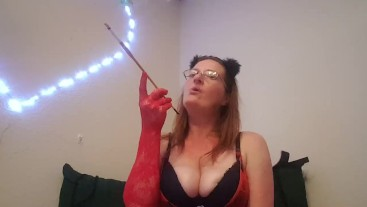 Sexy Redhead Smoking A Long One