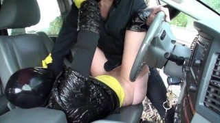 Couple Fucking Outdoor - Girl With Latex Mask + Gloves - Breathplay Pissing