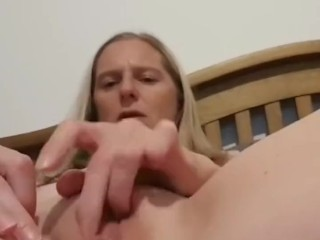 Mom playing with her tight pussy and squirts