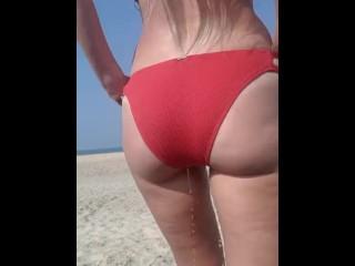 Public peeing my red bikini
