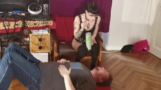 Slim goth domina feeding her slave mouth to mouth pt1 HD