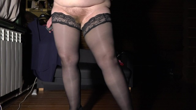 Mature bbw hairy Mature bbw with hairy pussy and huge tits tries on stockings and shoes