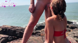 Screen Capture of Video Titled: Hot Student Blowjob Big Cock and Fucking with Beautiful Sea View
