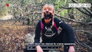 Outdoor blowjob. Stalker Karina suck a dick to a guard at an abandoned camp