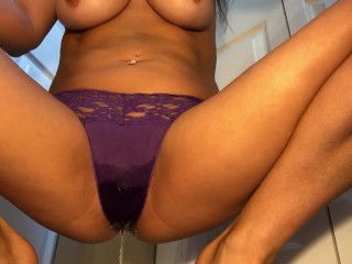 Soaking panties and peeing all over the floor!