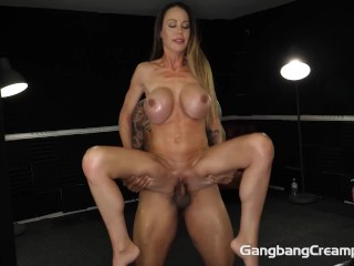 Skinny Milf fucks and eats the cum of the Cocksmen