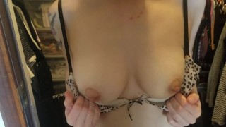 Bouncing her tits to make for a hard cock