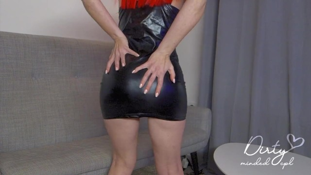Red head gets fucked in tight latex dress 13