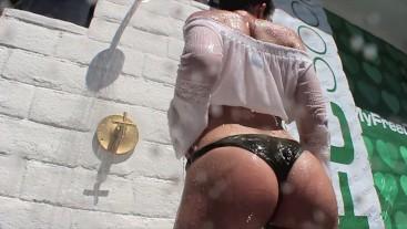 Petite Brunette Wet White Shirt Tease by Public Pool