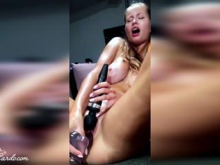 Big Boobs Girl Masturbate Two Sex Toys - Orgasm Closeup
