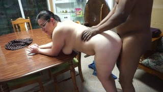 White Milf Gets Slammed Hard By BBC on the Dining Room Table
