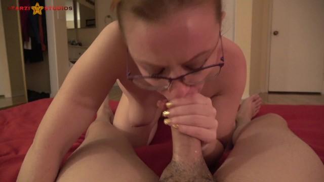 Nerdy cum eating whore deepthroats cock 20