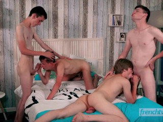 Four french boys in crazy orgy starting with...