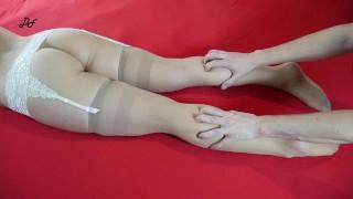 Foot Tickling Orgasm In Beige Stockings ~DirtyFamily~