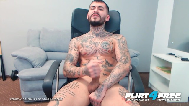 Huge cock gay videos free - Tony calvin on flirt4free - tatted up ripped stud jerks off huge uncut cock