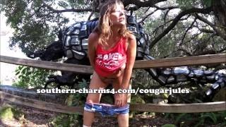50y Cougar Jules Big Tits Public Masturbation