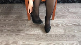 Student girl in black nylon show shoes and stinky foot mistress stockings