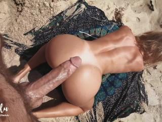 Sex on a Perfect Beach! Cum everywhere and keep fucking! Amateur LeoLulu