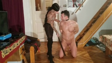CBT with caning & spankig by beautiful goth domina HD FULL