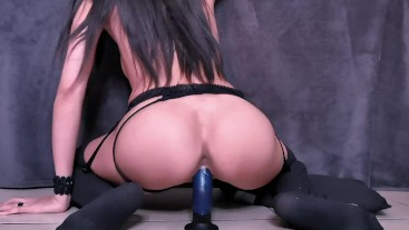 Reverse Cowgirl Dildo ride. Wet Pussy closeup.