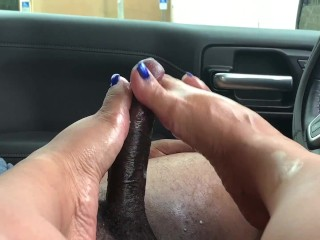 Amazing Car footjob makes him explode