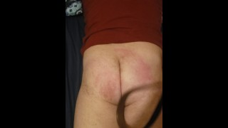 Angry wife beats husbands ass with belt
