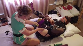 TGirl Slut Lucy gets Tied Up and Pegged by Latex Nurse Essex Girl Lisa