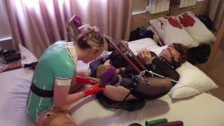 Latex Nurse Pegging Her Bondage Sissy Slut. Essex Girl Lisa & Tgirl Lucy