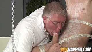 Old master jerks off twink after hot wax torment