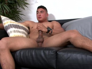 Activeduty muscle hunk edges his hard thick cock...