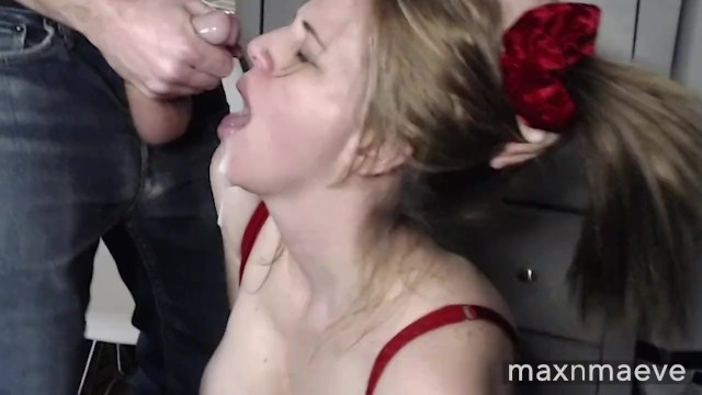 Maeve takes a big load of my cum in her mouth and on her face! 5